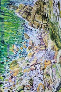 Cliffs-at-Bempton, collage 48 x 36 inches