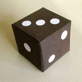 Giant dice from a paper box