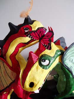 Close up of the paper dragons